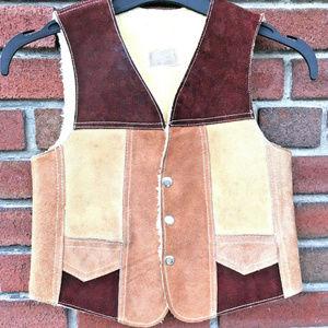 Other - Leather Vest Sherpa Lining Boy Sz L 10 12 Child